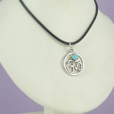 US Jewels And Gems New 0.925 Sterling Silver Hindu Yoga Meditation Om Aum Symbol Pendant Necklace