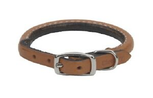 """Circle T OAK TANNED LEATHER ROUND COLLAR Dog Collar 3/8"""" x 10"""", 12"""" or 14"""""""
