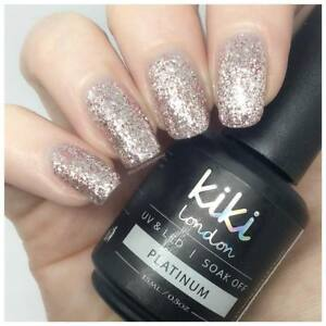 Silver Glitter Platinum Nail Uvled By Kiki London Exclusive