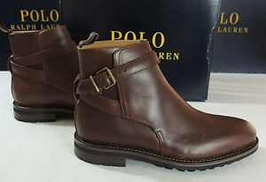 $395 Polo Ralph Lauren Aldan Brown Waxy Calf Leather Boots Classic Shoes 8 D 7