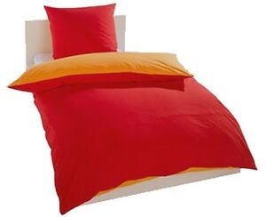 3 tlg wende bettw sche rot gelb orange 2x 80x80 1x 200x200 linon neu ebay. Black Bedroom Furniture Sets. Home Design Ideas