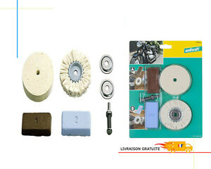 Set de Polissage Wolfcraft Kit Poncage Pate A Polir Disque Feutre Axe Nettoyage