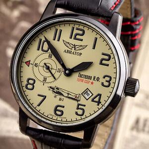 Poljot-AVIATOR-Fliegeruhr-WW2-russische-CCCP-Uhr-GASTELLO-3105-1734388-letzte-Ex
