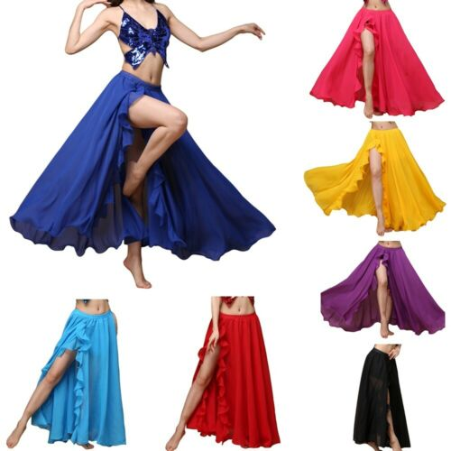 2019 Belly Dance Chiffon Skirt Dancewear Performance Split Swing Skirt Halloween
