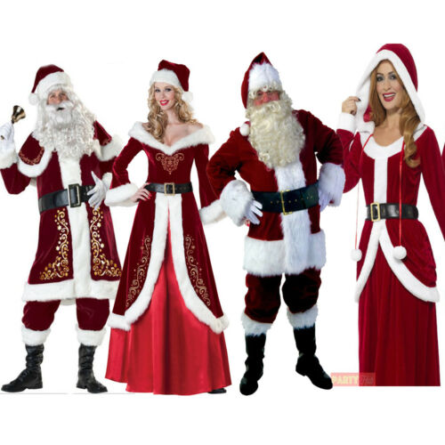 Santa Claus 8Pcs Costume Deluxe Mens Father Christmas Cosplay Party Clothes Sets