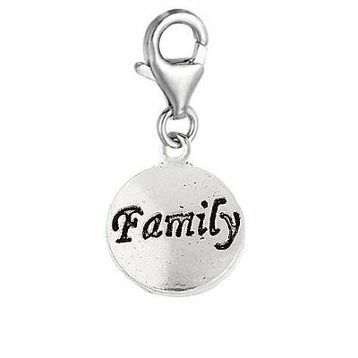 "Clip on "" Family "" Charm Pendant for European Clip on Charm Jewelry w/ Lobste..."