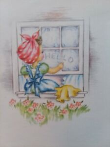 UNUSED-Vtg-LADY-Washes-Window-HELLO-Rust-Craft-Note-Greeting-CARD-New-Old-Stock