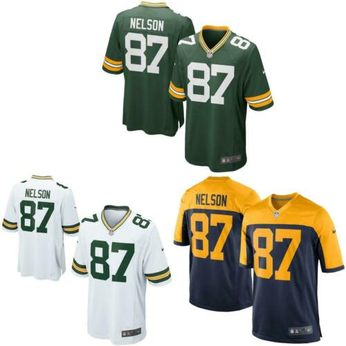 Jordy Nelson Men Game Jersey White Navy Green  Packers