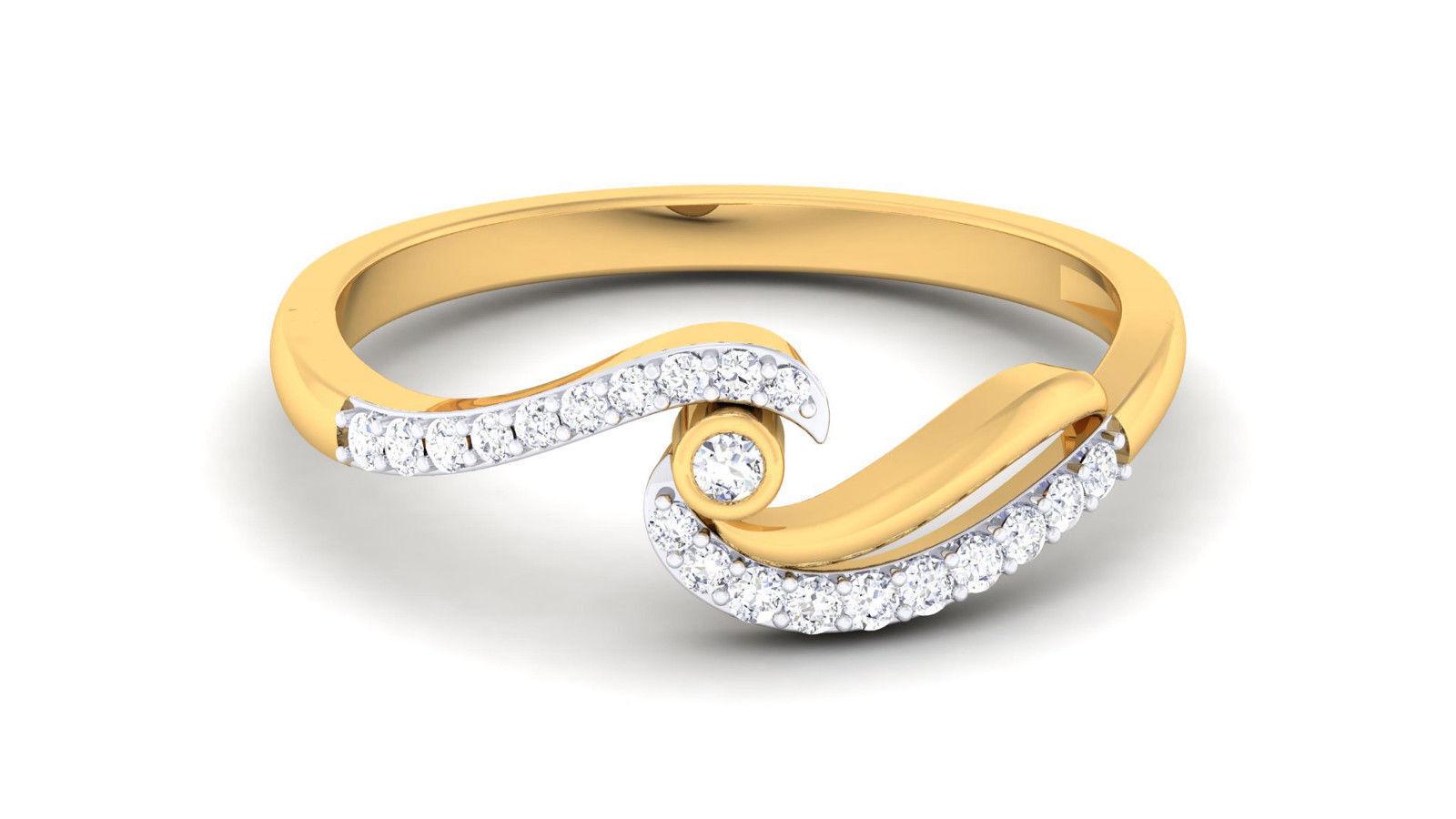 0.20 Cts Round Brilliant Cut Diamonds Anniversary Ring In Fine Hallmark 18K gold