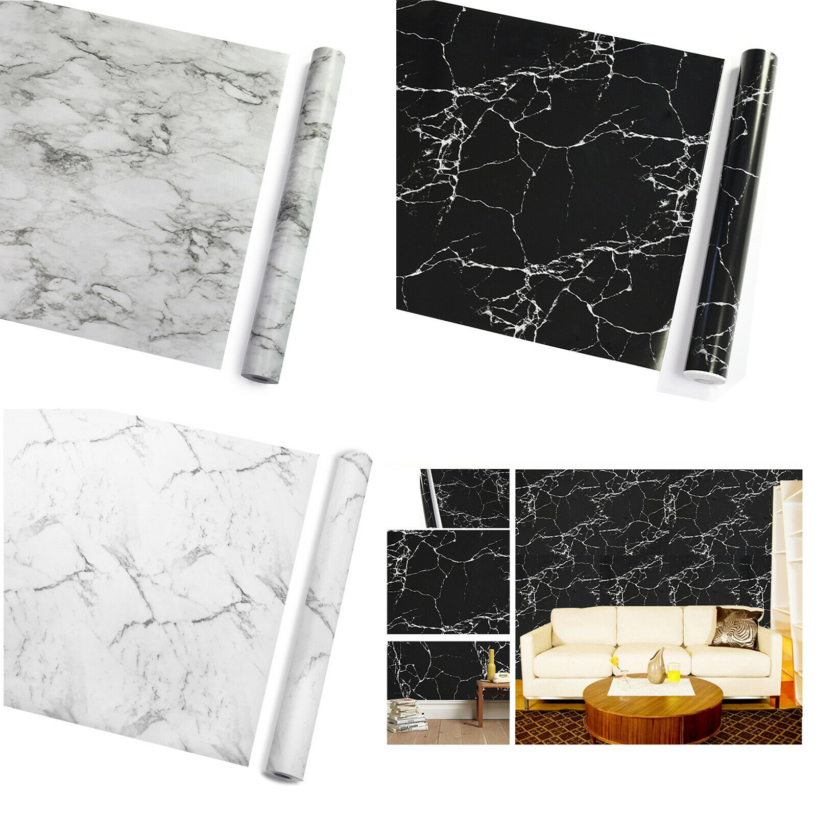 Worktop Vinyl Film White Self Adhesive Roll Sheet Marble Effect Kitchen Bathroom For Sale Ebay