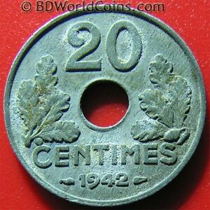 Details About 1942 France 20 Centimes Thick Flan World War Ii Wwii French Coin Zinc 35gr 24mm