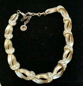 vintage-LISNER-rhinestone-brushed-gold-tone-choker-necklace-SHIPS-FREE