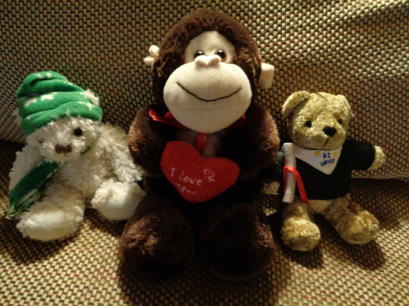 Lot of of of 3 plushies monkey and bear. 97ba0f