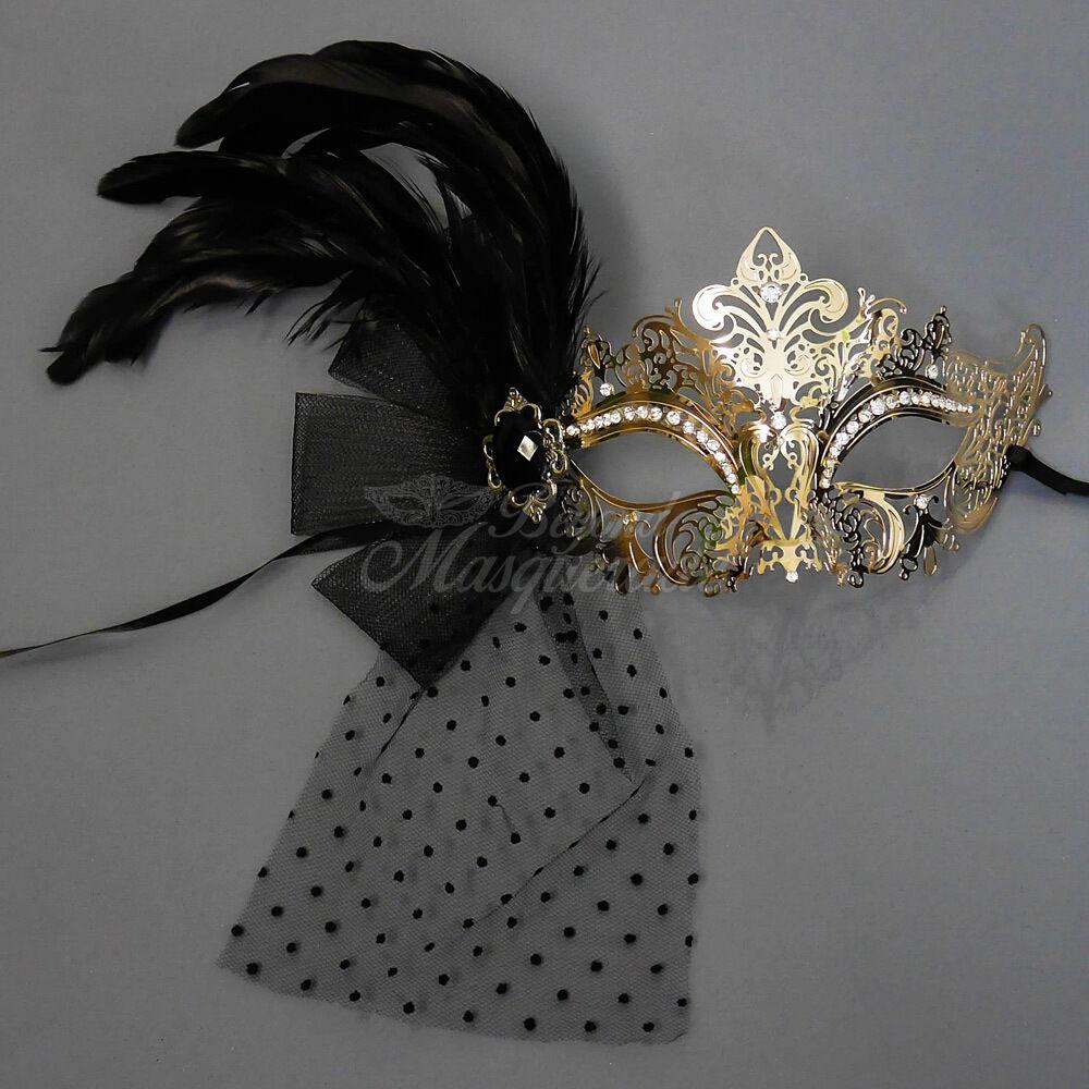 Handheld Stick Mask Women Luxury Gold Metal Venetian Masquerade Mask