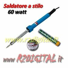 SALDATORE ELETTRICO a STILO 60W PROFESSIONALE  STAGNO + PASTA SALDATURE PUNTA