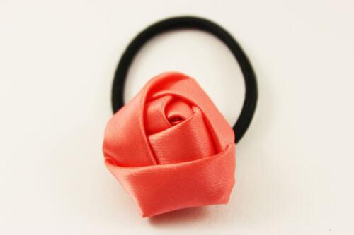 Haargummi Zopfhalter Haarband Satin Rose Blume Blüte Haarschmuck A026