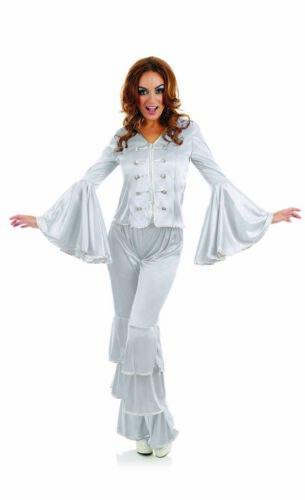 Femme 1970 S Argent Dancing Queen Costume S-XXL femmes 70 S Disco Fancy Dress
