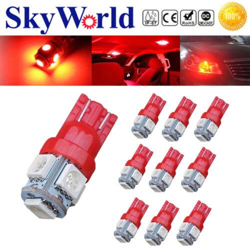 10pcs Auto Car T10 5SMD 5050 Red LED Light W5W 2825192 168 194 12V Bulbs Lamp