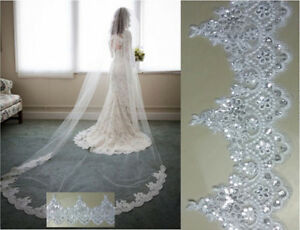 New-1-Layer-Cathedral-Length-3M-Lace-with-Sequins-Wedding-Bridal-Veil-with-comb