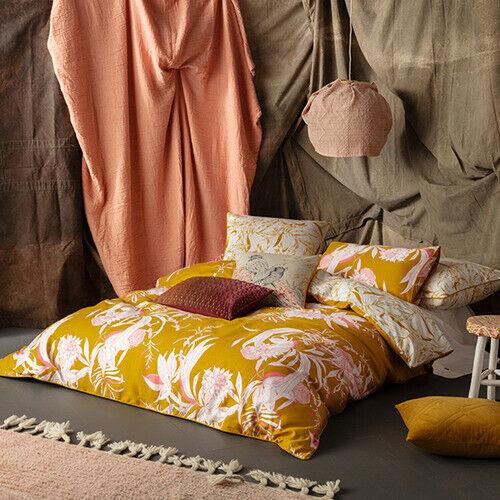 KAS Floral Carroway Quilt Cover Set Mustard