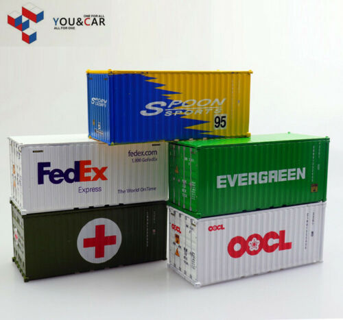 You/&Car 1:64 Fedex Oocl Evergreen Spoon 20GP/' Shipping Container Model Openable