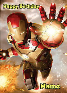 Iron man marvel avengers any name any age childrens birthday card image is loading iron man marvel avengers any name any age bookmarktalkfo Images