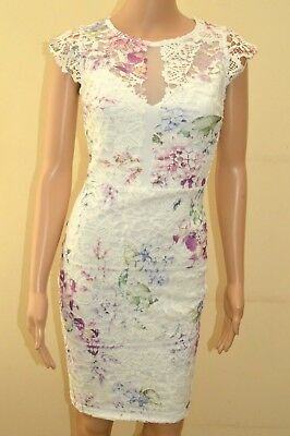 New M/&S COLLECTION White Cotton Rich Floral Print Shift Dress Sz UK 20 reg  long