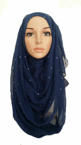Pierre Maxi Écharpe Grand Large Rivets Hijab Sarong Wrap Cape Viscos Strass STONE