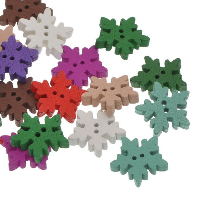 100PCs Mixed Colors Snowflake Shape Two Holes Wooden Buttons 18.5mm x18.5mm