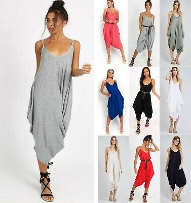 New Ladies Causal Cami Strappy Ali Baba Hareem Romper Baggy Oversized Jumpsuit