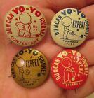 Vintage Duncan yoyo set of 4 PINBACK buttons yo yo TOURNEY badges yo-yo