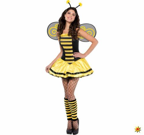 S-L Kleid gelb schwarz Fasching Kar Damen Kostüm Biene Maria Insekt Bienchen Gr
