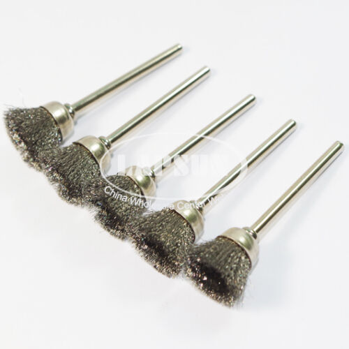 """5pc 1//8/"""" Mounted Steel Wire Brush Crimped Rotary Tool Cup Wheel Polishing Buffin"""