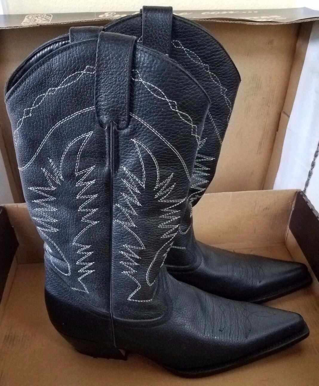 Para mujer boterine botas de cuero negro botas de vaquero occidental colombiana Nuevo