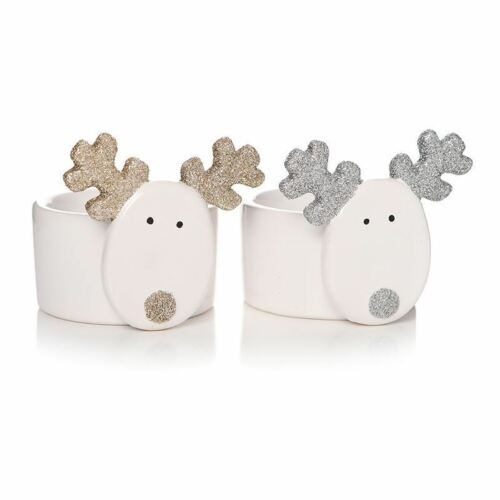 White Ceramic Reindeer Tea Light Holder Each Sold Individually