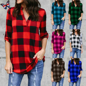 a0f1c43a Image is loading Women-Checked-Short-Sleeve-Blouse-Ladies-Plain-Loose-