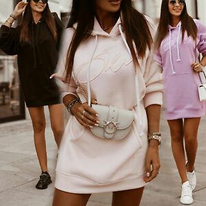 OLA-Damen-Over-Size-Sweatshirt-Pullover-Minikleid-Longpullover-Kapuzenkleid