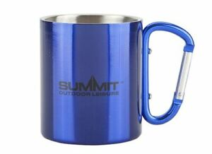 SUMMIT-300ml-Acero-Inoxidable-Taza-Doble-Pared-Mosqueton-Campamento-Senderismo-Azul