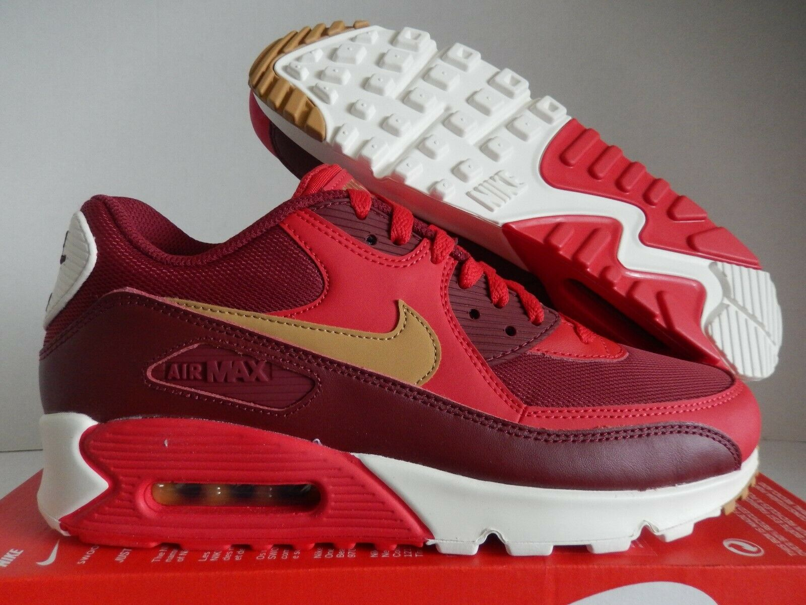NIKE AIR MAX 90 ESSENTIAL GAME GAME GAME rosso-ELEMENTAL oro SZ 10 [537384-607] 38e729