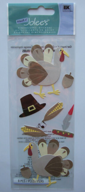 A Touch of Jolee's Boutique ~THANKSGIVING TURKEYS~ Dimensional Stickers PILGRIM