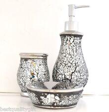 NEW SILVER GLASS,MIRROR MOSAIC BATHROOM SOAP DISPENSER+DISH+TOOTHBRUSH HOLDER