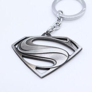 superman logo metal ring keychain pendant