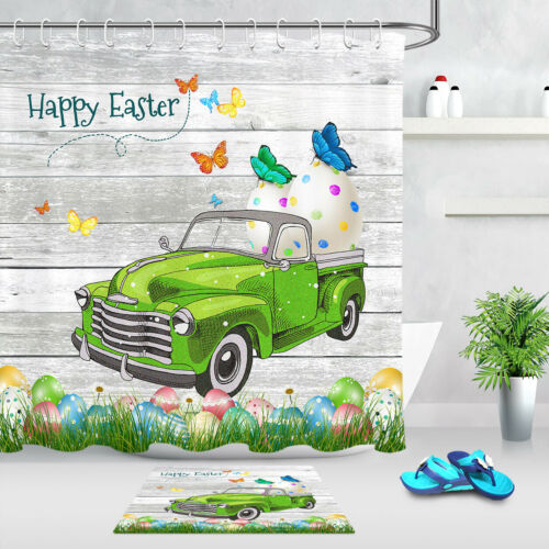 Green Truck Easter Egg Butterfly Fabric Shower Curtain Set Bathroom Decor Hooks