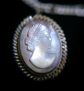 Vtg-Antique-Mother-of-Pearl-Abalone-Shell-800-Silver-Cameo-Pendant-Brooch-Pin