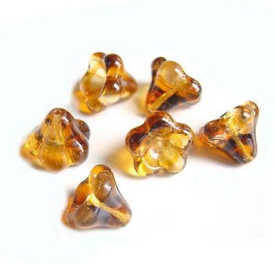 25 Opal Orange Czech Pressed Glass 8x13mm Trumpet Flower Beads