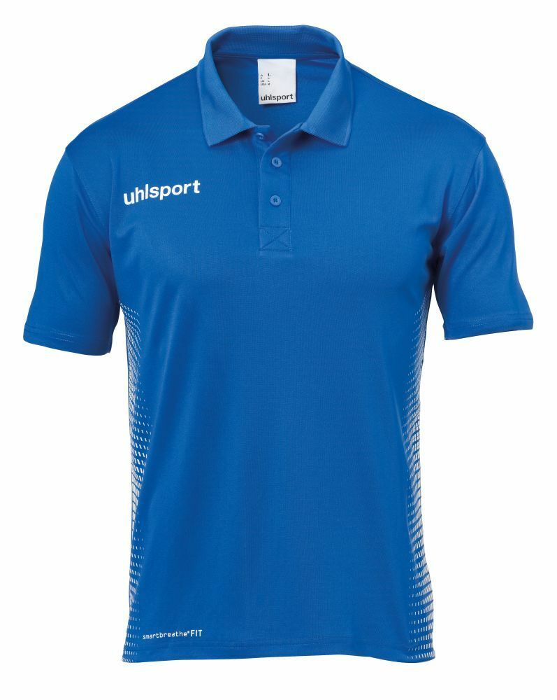 Uhlsport Mens Sports Football Soccer Short Sleeve Polo Shirt Top bluee White