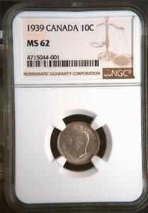 1939-SILVER-DIME-GEORGE-VI-10C-CANADA-KM-34-LOW-POP-NGC-MS-62-HIGHEST-GRADES