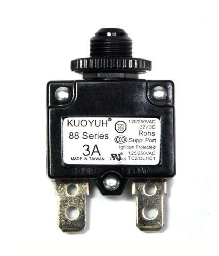 1pc KUOYUH 3A 88 Series Circuit Breaker 125//250VAC 50//60Hz