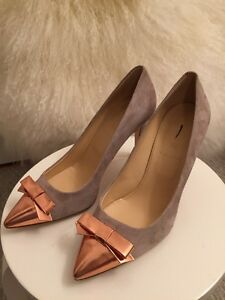 4a1e6208edd6 New J.Crew Everly Cap Toe Suede Pumps with Patent Bow 6.5 Tan Beige ...