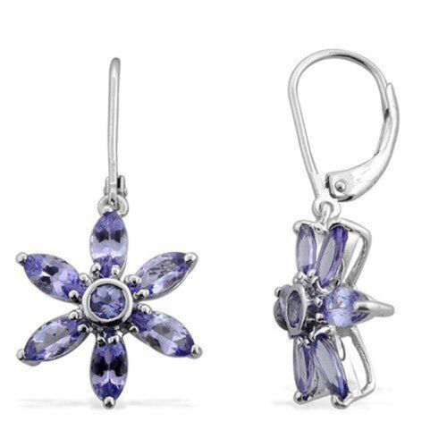 Natural AA Tanzanite Belle Fleur Boucle D/'oreille Marquise Cut Argent Sterling 925